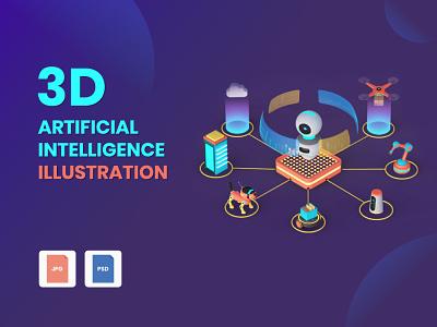3D Artificial Intelligence Illustration vector ui ux design branding graphic design psd jpg illustration artificial intelligence ai 3d