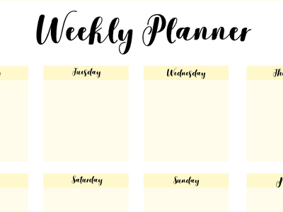 free weekly planner template by krafted dribbble dribbble