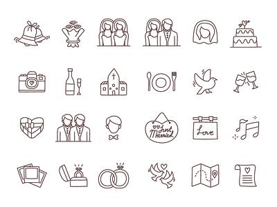 Free Wedding Line Icons freebies freebbble freebie free wedding icons wedding icons free