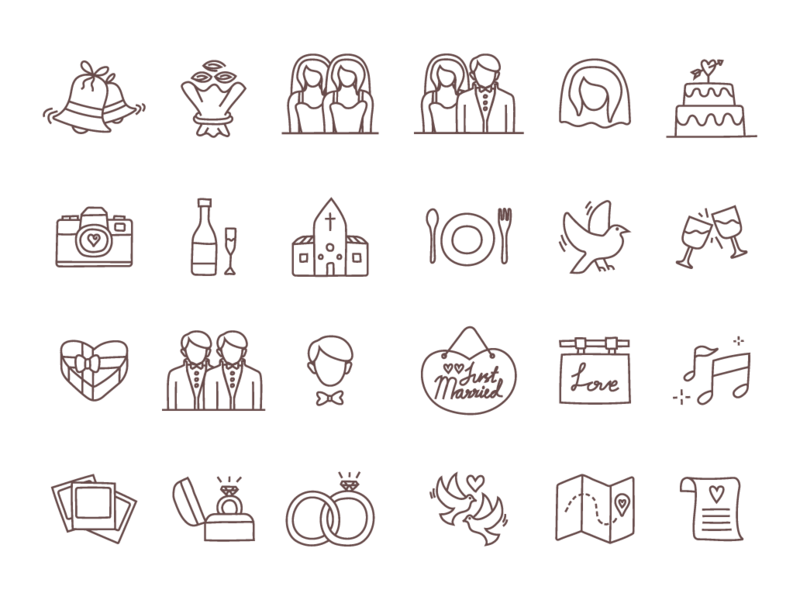 Download Free Wedding Line Icons