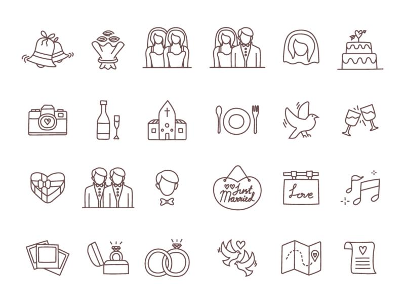 Download Free Wedding Line Icons