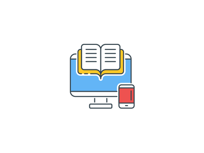 Online Education Icons subject course study educational e-learning elearning online education color outline icons icon vector