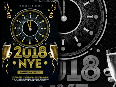 New Year Eve Flyer Template happy celebration firework 2018 nye new year eve flyer template black gold advertising new year