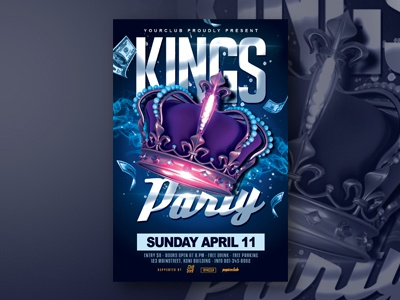 Kings Party Flyer crown event flyer party flyer koningsdag kings day template poster design birthday flyer design flyer tempate flyer