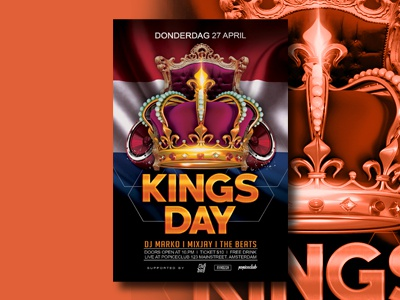 Kings Day Flyer Template color advertising graphic design kings day kings koningsdag event poster flyer template flyer design flyer