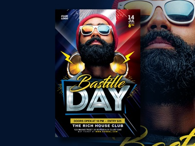 Bastille Day Party Flyer Template print template print design mock up flyer design poster template flyer template event flyer flyer bastille day advertising
