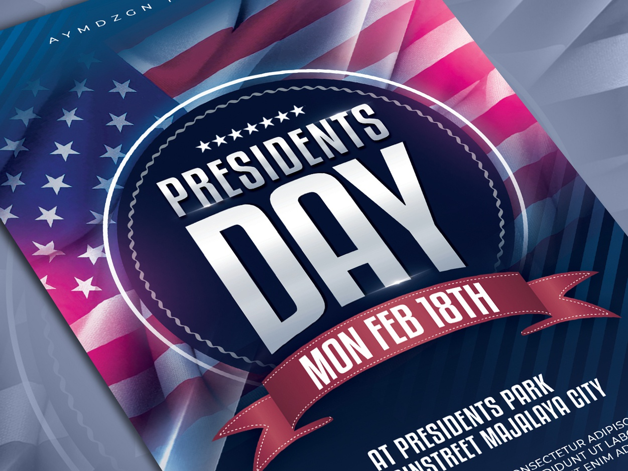 Presidents Day Flyer Template poster template event calendar 4th of july poster advertising mock up party flyer template veterans day labor day presidents day american event usa flyer poster design print design print template event flyer flyer design flyer template