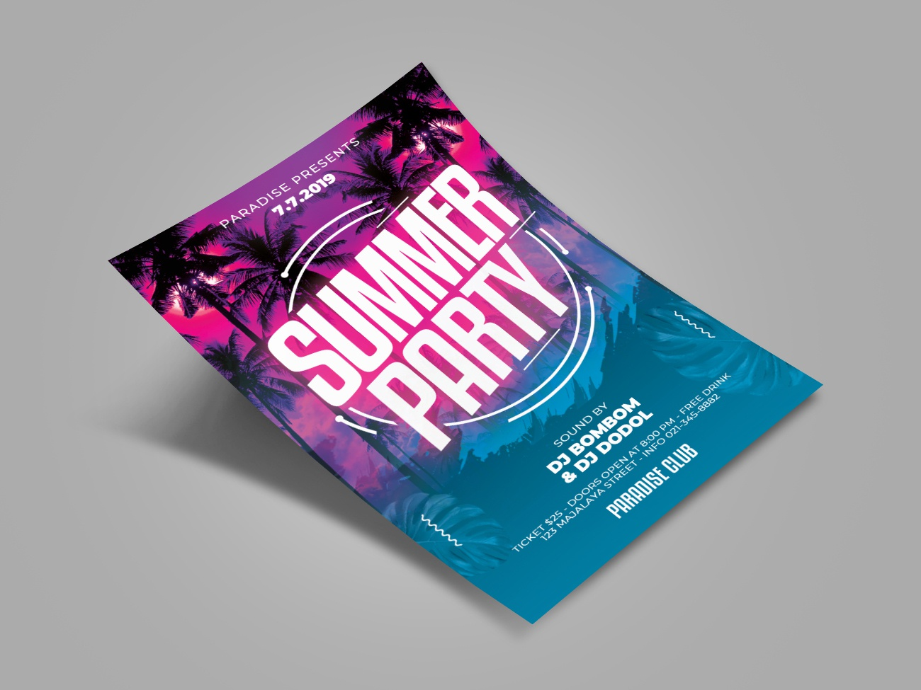 Summer Party Flyer Template summer vibes summer party flyer summer flyer summer party summer invitation illustration print music poster design print design abstract poster event flyer advertising print template template flyer design flyer template
