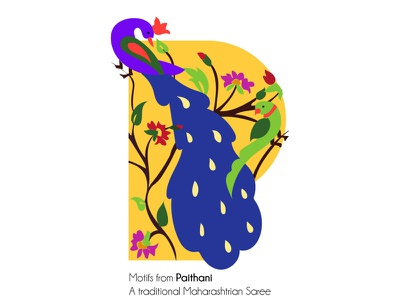Motifs from Paithani saree wip graphic design illustration motifs indian culture