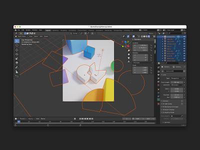 3D Scene Exploration icon brand identity blender 3d design logo illustration branding