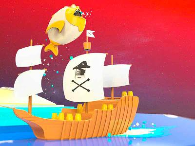Pirate's Ship splash shot gradient red blue pirates fish sea ship