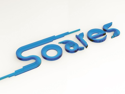 S from S O A R E S  soares personalbrand identity yellow blue render 3d graphic lettering s