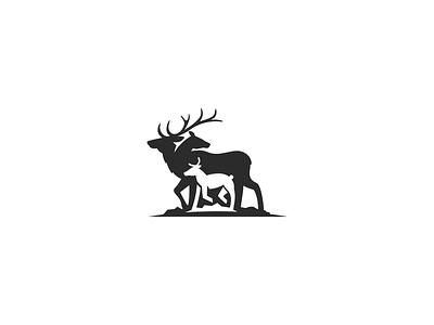 Elks Logo elks logo family logo deer silhouette retro logo wildlife logo antler logo deer logo hidden message animal logo modern logo pictorial mark negative space simple logo icon logo