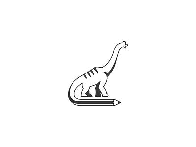 Dinosaur Logo dinosaur dinosaur icon education logo pencil logo dinosaur logo negative space logo modern logo pictorial mark simple logo icon logo