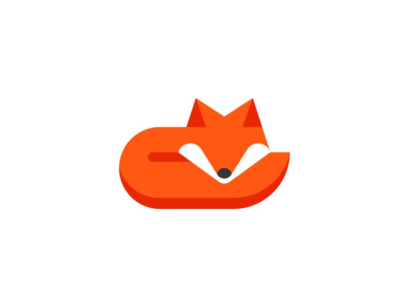 Fox Sleep Logo illustration fox tail orange fox logo animal logo pictorial mark symbol modern logo simple logo negative space icon logo