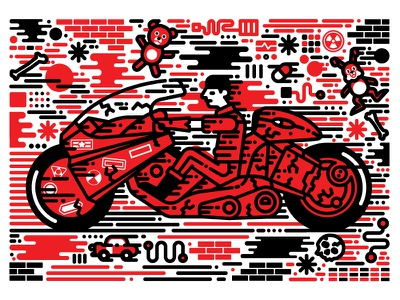 Kaneda film film poster akira vector illustration vector character design illustration