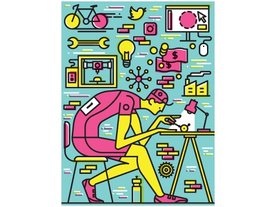 Bicycling Magazine vector illustration editorial illustration character design vector illustration