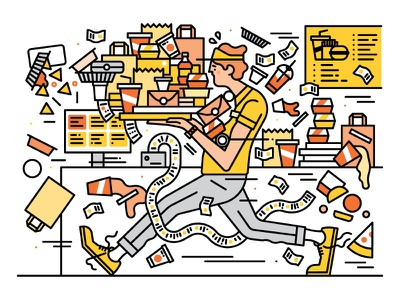 Fortune Magazine editorial illustration editorial technology lifestyle fast food industry vector illustration fortune magazine fast food character design illustration