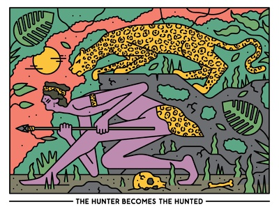 The Hunter Becomes The Hunted jungle animal illustration vector vector illustration character design editorial illustration illustration
