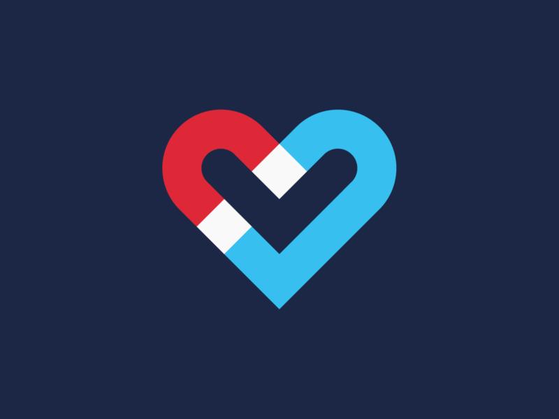 Magnet Heart Logo tech logo startup logo symbol logos logo designer logo design brand identity branding logo electric magnet heart heart logo valentinesday valentines