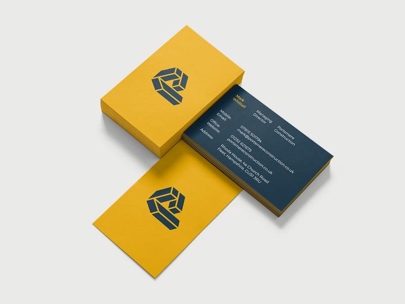 Portsmere Construction - Business Card Design logotype logo design visual identity logo designer branding construction brand identity logo letter logo letter p logo business card design business card construction branding construction logo