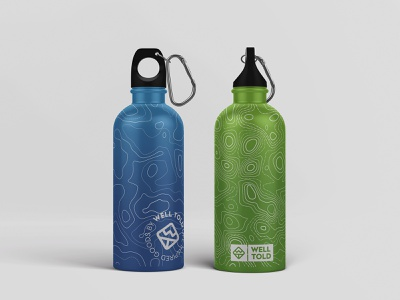 Well Told - Water Bottle Maps Design visual identity logo design logotype branding brand identity logo outdoor badge outdoor logo letter logo wt letter logo adventure logo topography packaging design packaging