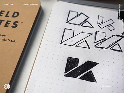 K Logo Sketch 1 monogram logotype brand identity branding field notes sketch logo sketch logo designer logo design letter k lettering