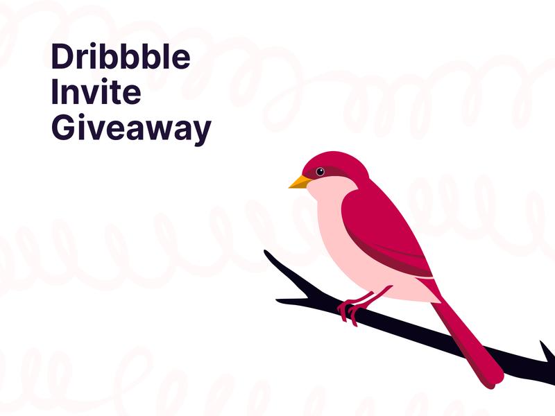 Dribbble Invite Contest freebie contest prospect illustration invitation free invite draft invite bird sparrow giveaway ticket dribbble