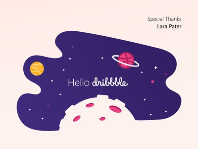 Hello Dribbble space illustration shot first dribbble debut