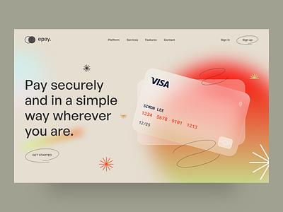 epay - Platform UI Main Screen platform design pays payment bank creditcard platform portfolio agency web design minimal creative ux design ui