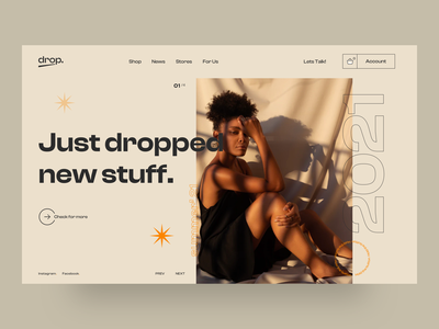 drop - Main Screen UI Concept clothing shopify sales shopping shop web portfolio agency web design minimal creative ux design ui