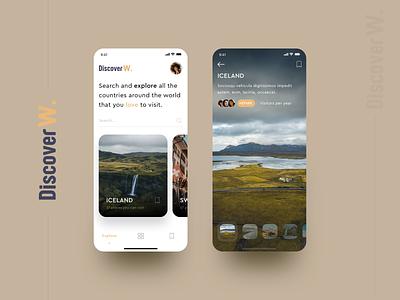 DiscoverW. mobile app mobile app app explore discover travel app travel web design denisbujupaj elitefingers agency creative minimal design ui ux