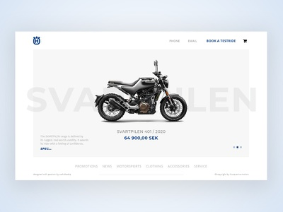 Husqvarna Motors Website Header Design minimalism webdesign uxdesign husqvarna401