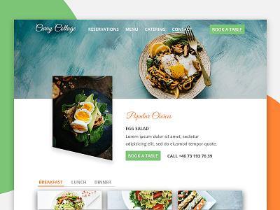 Curry Cottage Restaurant Website Landing Page web layout photoshop design landing page design restaurant design food design uxdesign