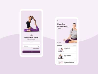 Yoga Inspired Interface fitness exercise salmon purple pink concept yoga mobile ui design