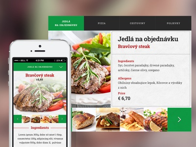 Meal choice widget widget food mobile webdesign dinner flat simple navigation ux ui