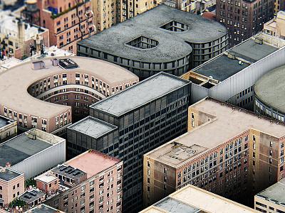 Big City File lettering 3d typography c4d 3d matte painting retouch artwork