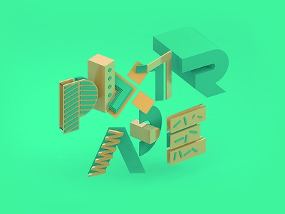 Pixtrade 3D Typography webdesign landing page homepage fresh minimalistic c4d typography 3d