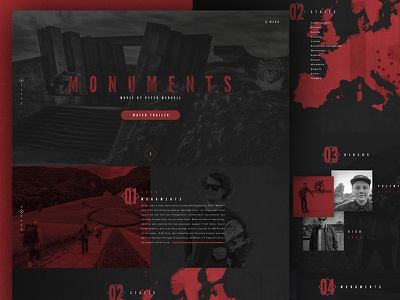 Monuments website concept landing page microsite webdesign minimalistic flat modern simple parallax ui website