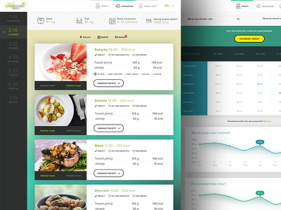 Recipes and body progress screen ux ui schedule shadow color graph chart widget clean minimalistic webdesign web