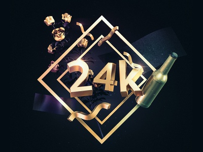 24 k widget typography texture simple poster illustration gold c4d artwork 3d