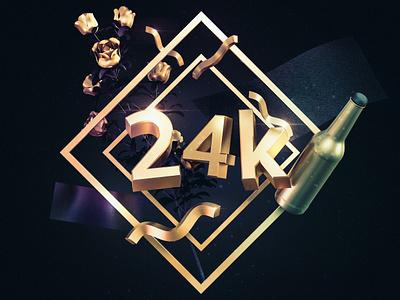 24 k widget typography texture simple poster illustration gold c4d artwork 3d