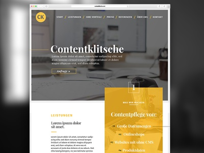 Contentklitsche  website screendesign webdesign preview frontpage