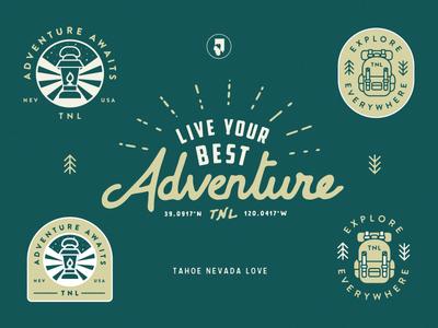 Explore & Adventure backpack lamp reno tahoe camping outdoors illustration linework identity badge
