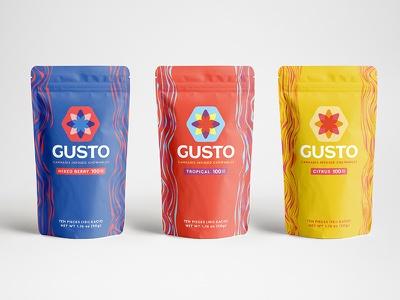 Gusto Cannabis Infused Candy identity flavor reno nevada weed marijuana bright color packaging candy