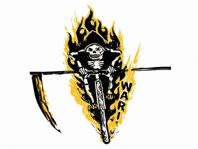 Hell Ride scythe reaper illustration flames bike bicycle riding skeleton