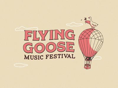Flying Goose Music Festival fantasy western story washington reno illustration identity hot balloon goose