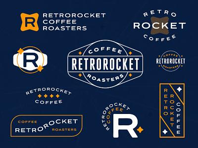 Retrorocket Coffee Roasters cosmic orange reno badges identity stars space coffee