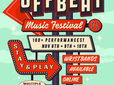 Off Beat Music Festival Poster campaign identity illustration poster reno brooklyn nyc motel festival music