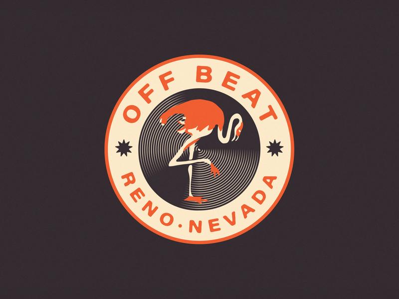 Off Beat Music Festival Badge vintage motel retro brooklyn new york city design flamingo badge nevada reno illustration identity